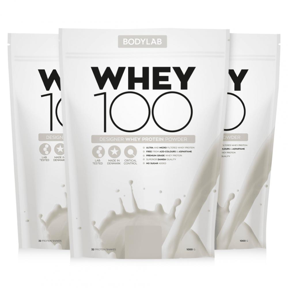 Bodylab Whey 100 er et dansk produceret proteinpulver udvundet af komælk, via moderne og skånsomme filtreringsprocesser. Bodylab Whey 100 består af en blanding af 100 % rent udenatureret valleprotein-koncentrat og valleprotein-isolat af højeste kvalitet. Valleprotein er kendt for sin alsidige aminosyreprofil hvilket giver produktet en bred vifte af anvendelsesmuligheder.